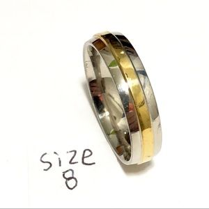 Men's / Women's Silver and Gold Tone Ring, Size 8